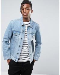 Asos Denim Jacket In Light Blue Wash