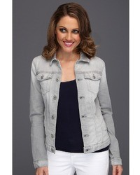 7 For All Mankind Denim Jacket In Light Grey Destroy Apparel