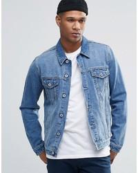 Asos Denim Jacket In Mid Blue Wash