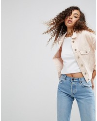 Asos Denim Jacket In Washed Pink With Rips