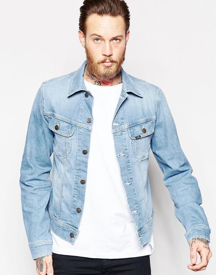 Lee Denim Jacket Slim Fit Rider Light Wash Stretch Where To Buy