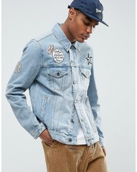 Asos Denim Jacket With Badges In Mid Wash