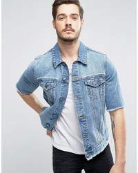 Asos Denim Jacket With Cut Off Sleeve In Mid Wash