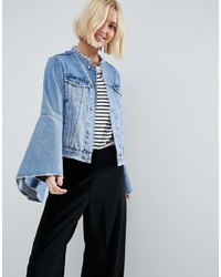 Asos Denim Jacket With Rips And Fluted Sleeve
