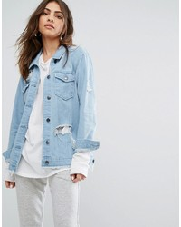 Daisy Street Denim Trucker Jacket With Distressing And Raw Hem