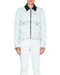 Givenchy Destroyed Denim Jacket With Leather Collar