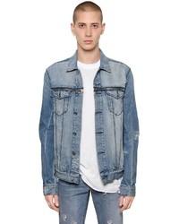 Destroyed washed denim jacket w zips medium 4416769