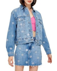 Topshop Diamante Sport Denim Jacket