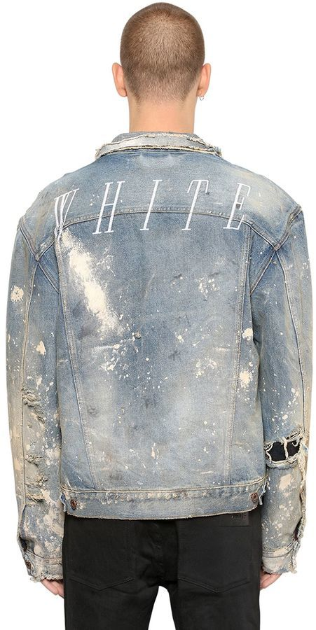 Vintage Distressed Vintage Denim Distressed Jacket Distressed Jacket Denim Painted Painted T3lJ1FKc