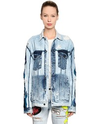 Filles a papa Sequined Flame Washed Denim Jacket