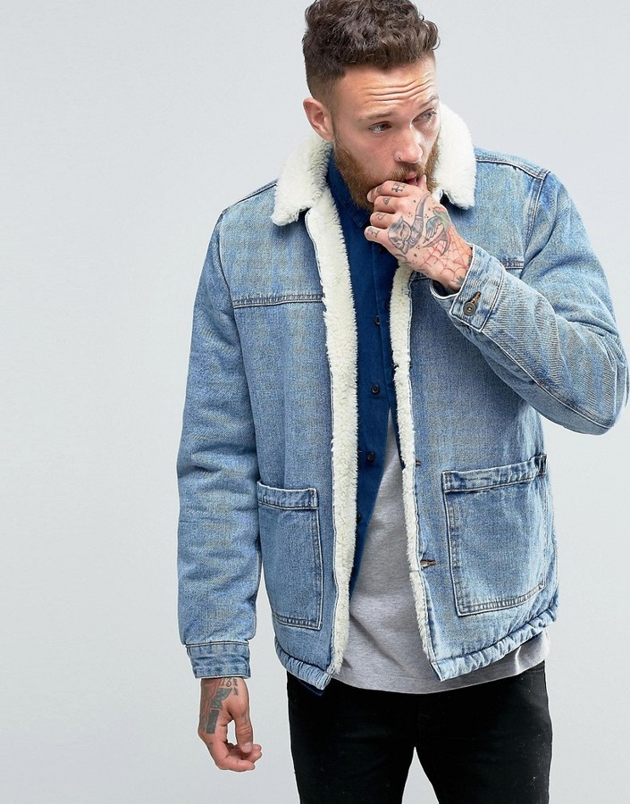 Asos Fully Fleece Lined Denim Jacket In Blue Wash   Where to buy ...