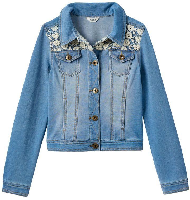 1118afe6653 ... Mudd Girls 7 16 Plus Size Crocheted Yoke Knit Denim Jacket ...