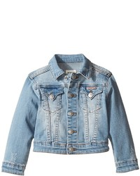 Hudson Kids Denim Jacket With Applique Banner And Embroidery