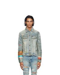 Amiri Indigo Denim Patch Scarves Trucker Jacket