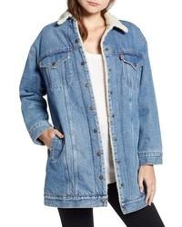 Long faux shearling denim jacket medium 8686424