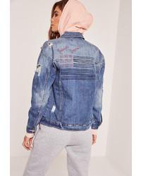 Missguided Blue American Dreamer Denim Jacket