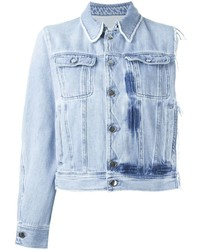 MM6 MAISON MARGIELA Asymmetric Frayed Button Up Denim Jacket