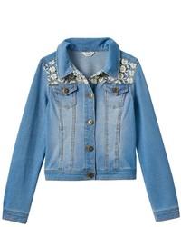 Mudd Girls 7 16 Plus Size Crocheted Yoke Knit Denim Jacket