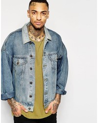 Asos Oversized Denim Jacket In Mid Blue Wash