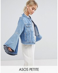 Asos Petite Petite Denim Jacket With Rips And Fluted Sleeve