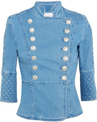 PIERRE BALMAIN Quilted Double Breasted Denim Jacket Indigo
