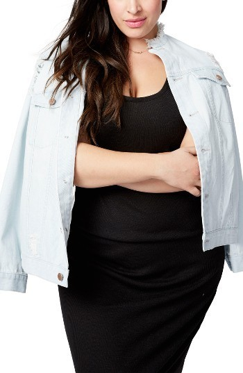 Rachel Roy Rachel Destructed Denim Jacket