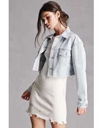 Forever 21 Raw Cut Cropped Denim Jacket