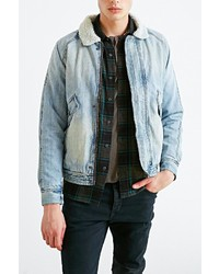 Zanerobe Shearling Denim Bomber Jacket