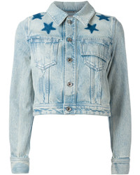 Star print bleached denim jacket medium 3641110