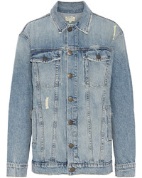 Current/Elliott The Rocky Mountain Trucker Distressed Denim Jacket