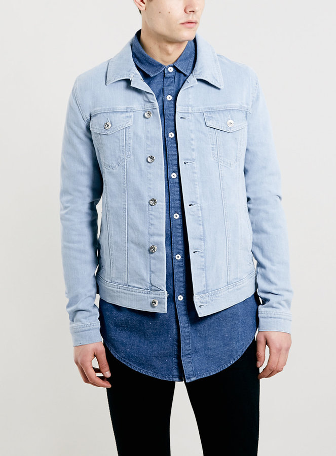 651ff630f3f04 ... Topman Light Blue Stretch Skinny Denim Western Jacket ...
