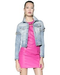 Versus Pin Embellished Stretch Denim Jacket