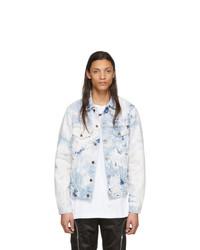 Off-White White And Blue Denim Slim Arrows Jacket