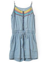 ChicNova Embroidery Print Denim Blue Sleeveless Jumpsuit