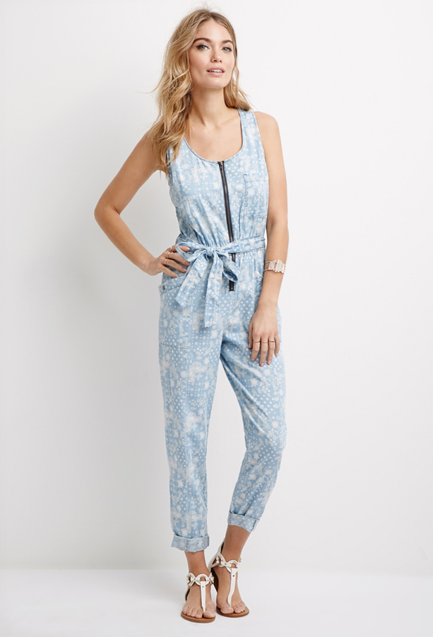 Forever 21 Contemporary Paisley Print Denim Jumpsuit | Where to ...