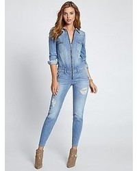 Womens Light Blue Jumpsuits By Guess Womens Fashion