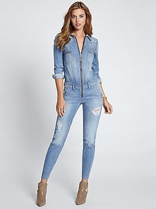 Guess Long Sleeve Denim Jumpsuit In Canyon Indigo Wash Where To