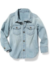 Light Blue Denim Long Sleeve Shirt