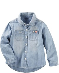 Osh Kosh Girls 4 8 Oshkosh Bgosh Denim Button Front Shirt