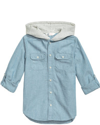 H&M Hooded Chambray Shirt Light Denim Blue Kids