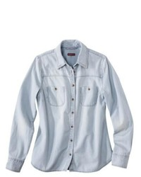 Merona Petites Long Sleeve Denim Shirt Light Blue Sp