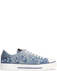 Valentino Appliqud Denim Sneakers Light Denim