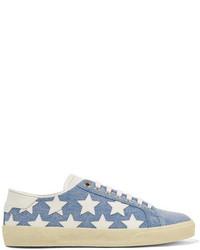 Saint Laurent Court Classic Leather Appliqud Denim Sneakers Blue