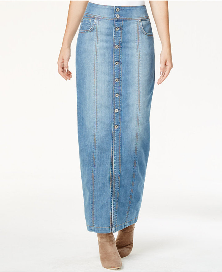 125805170a INC International Concepts Button Front Denim Maxi Skirt Only At Macys, $99  | Macy's | Lookastic.com
