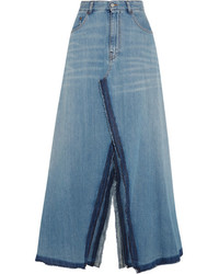 MM6 MAISON MARGIELA Frayed Denim Maxi Skirt Mid Denim