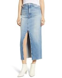 MOTHE R The Sacred Altered Fray Denim Maxi Skirt