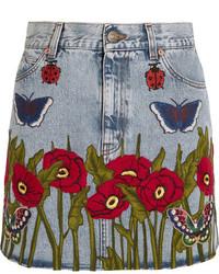 Gucci Appliqud Denim Mini Skirt Light Denim