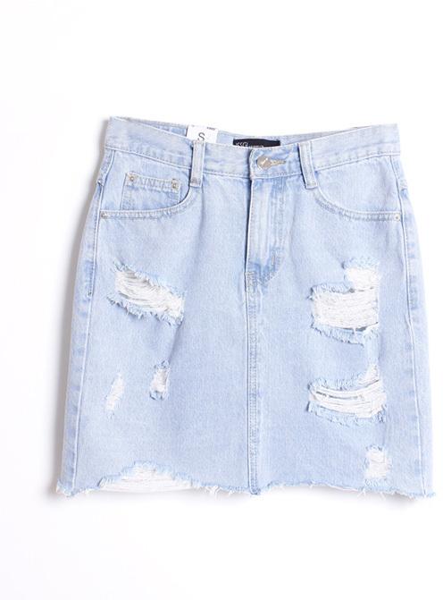 ChicNova Light Blue Western Style Rough Edge Ripped Denim Skirt ...