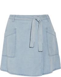 MM6 MAISON MARGIELA Denim Wrap Mini Skirt Light Denim