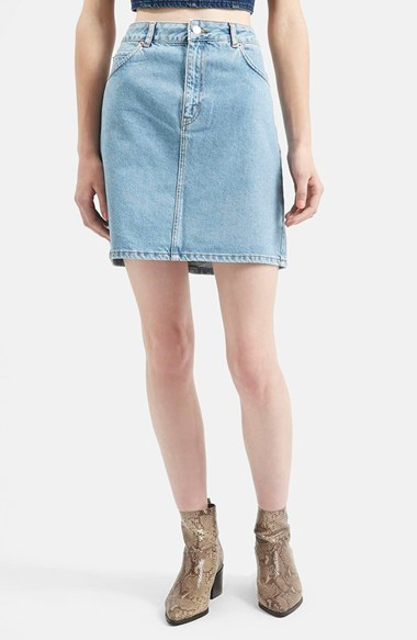 59e0be5cfe Topshop Moto High Rise Denim Skirt, $52 | Nordstrom | Lookastic.com